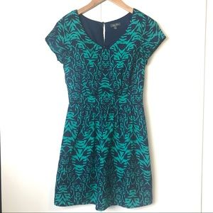 Lily Rose Cap Sleeve Tribal Blue Turquoise Dress